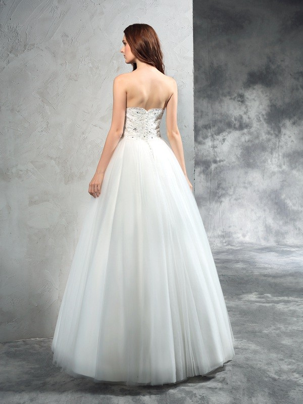 A-Line/Princess Sweetheart Long Net Wedding Dress