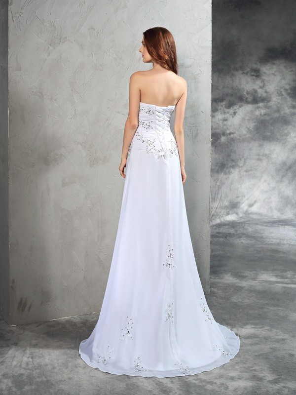 Sheath/Column Strapless Long Chiffon Wedding Dress