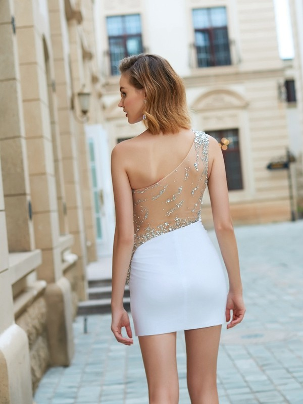 Sheath/Column One-Shoulder Short Net Dress