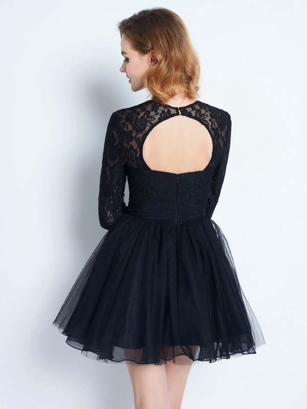 A-Line/Princess High Neck Long Sleeves Lace Short Net Dress