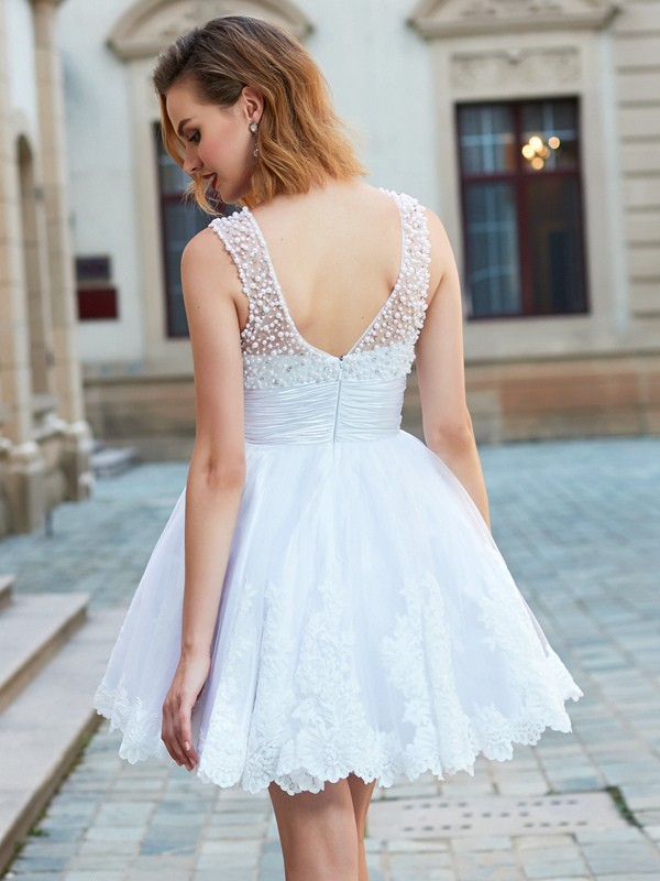 A-Line/Princess Jewel Short Lace Dress