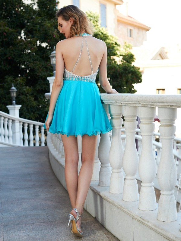 A-Line/Princess Halter Chiffon Short Dress