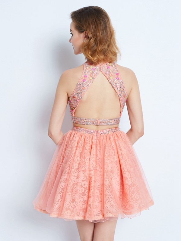 A-Line/Princess Jewel Lace Short Two Piece Dress