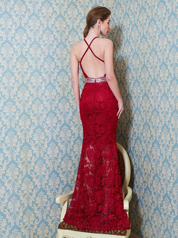 Sheath/Column Jewel Long Lace Dress