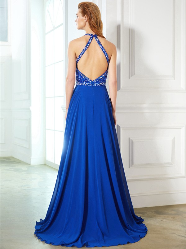 A-Line/Princess Jewel Chiffon Long Dress