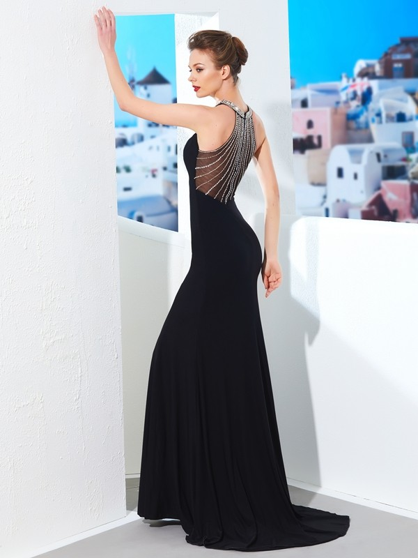 Sheath/Column Jewel Spandex Long Dress