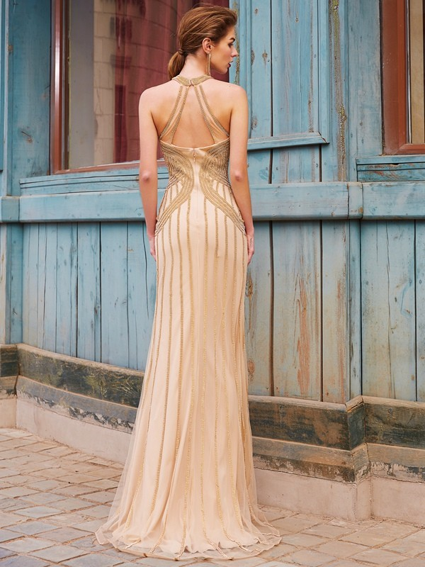 Sheath/Column High Neck Long Net Dress