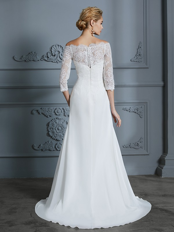 Mermaid 1/2 Sleeves Off-the-Shoulder Long Chiffon Wedding Dress