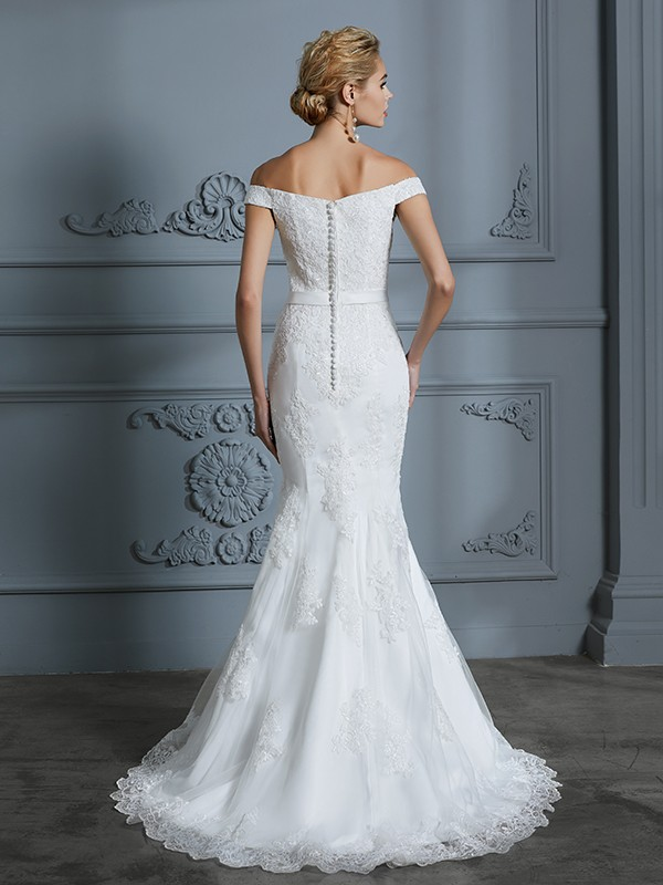 Mermaid Off-the-Shoulder Lace Long Tulle Wedding Dress