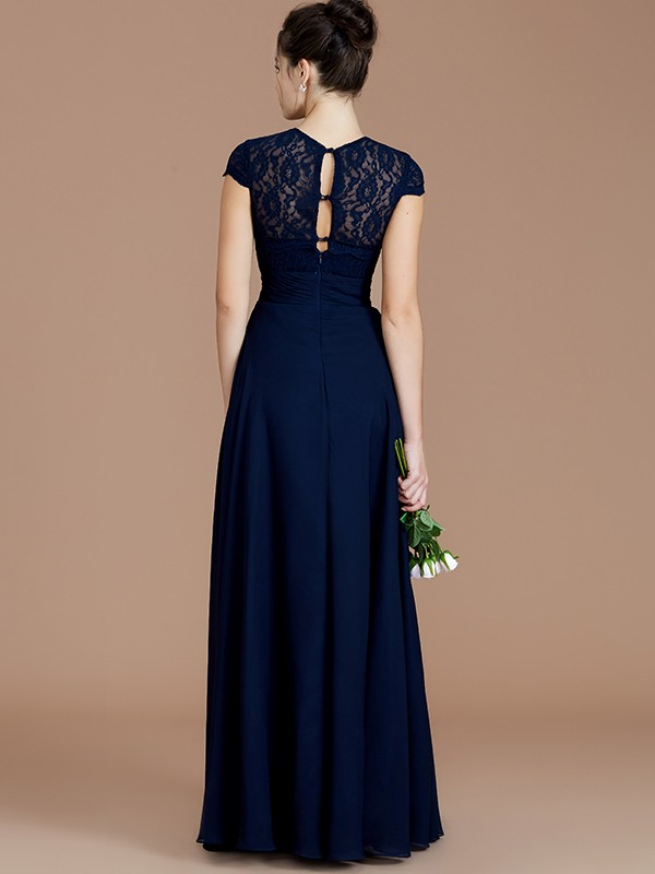 A-Line/Princess Jewel Short Sleeves Lace Long Chiffon Bridesmaid Dress