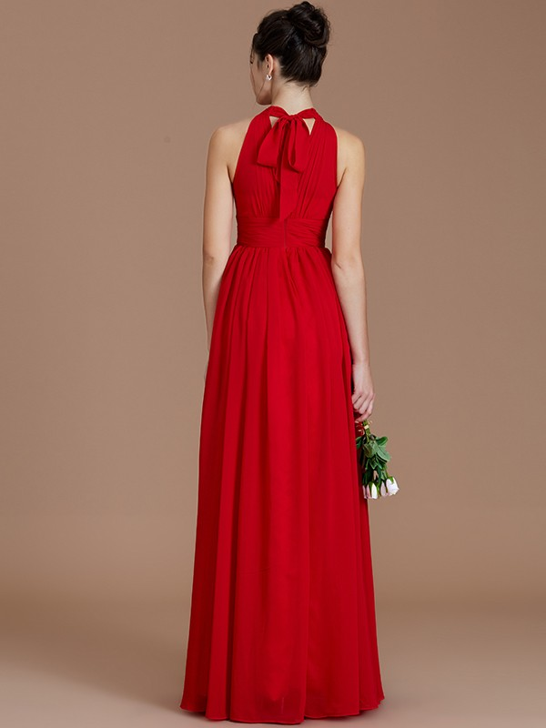 A-Line/Princess Halter Long Chiffon Bridesmaid Dress