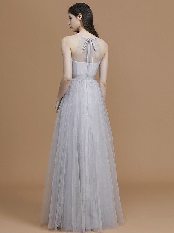 A-Line/Princess Halter Long Tulle Bridesmaid Dress