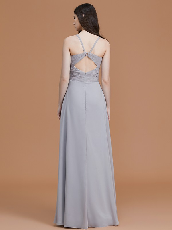 A-Line/Princess Spaghetti Straps Long Chiffon Bridesmaid Dress