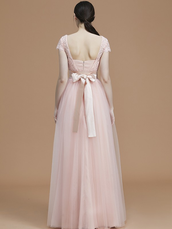 A-Line/Princess Bateau Short Sleeves Long Tulle Bridesmaid Dress
