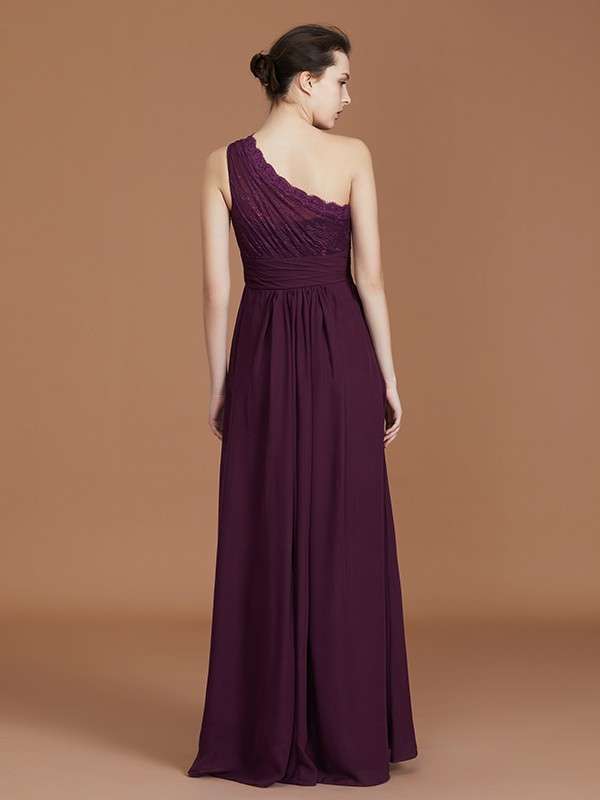 A-Line/Princess One-Shoulder Chiffon Long Bridesmaid Dress