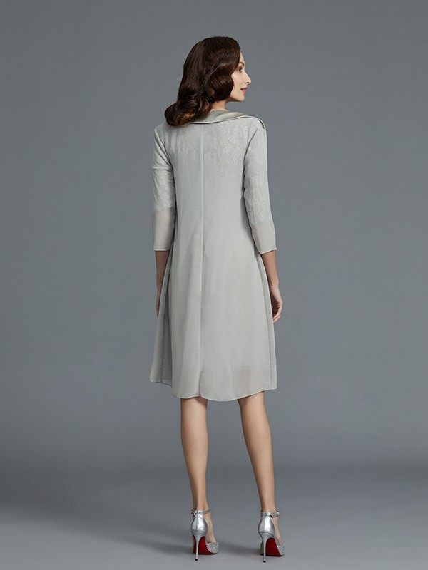 Sheath/Column Scoop 1/2 Sleeves Chiffon Short Mother of the Bride Dress