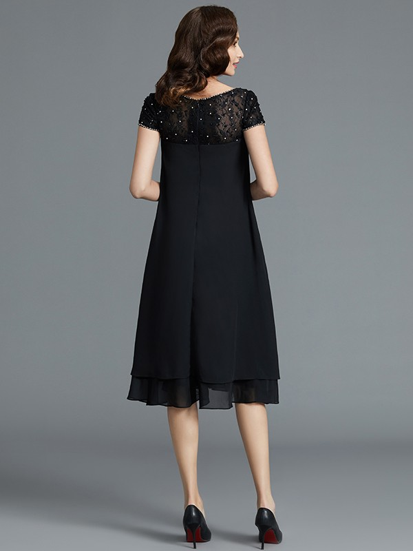 A-Line/Princess Scoop Short Chiffon Mother of the Bride Dress