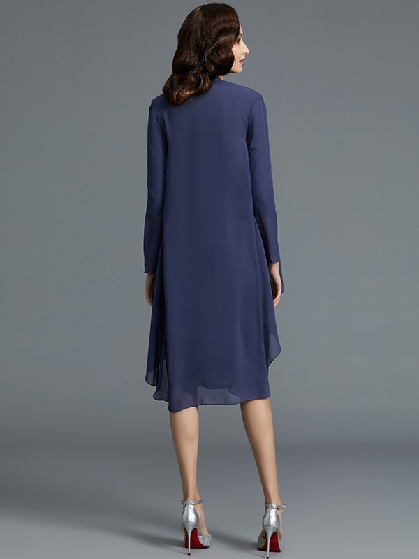 Sheath/Column Sweetheart Chiffon 1/2 Sleeves Short Mother of the Bride Dress