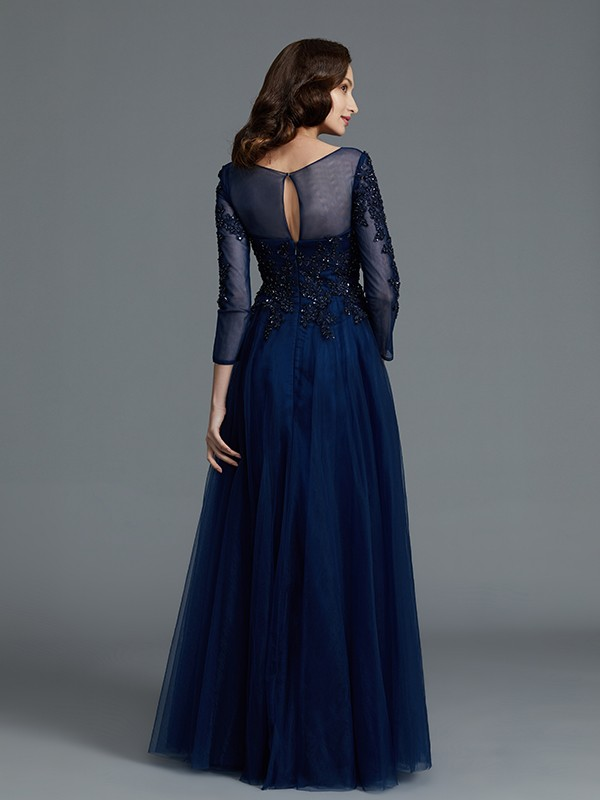 A-Line/Princess Long Sleeves Scoop Long Tulle Mother of the Bride Dress