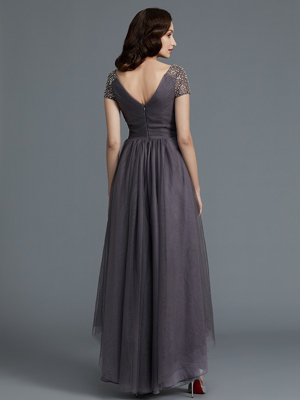 A-Line/Princess V-neck Short Sleeves Asymmetrical Tulle Mother of the Bride Dress