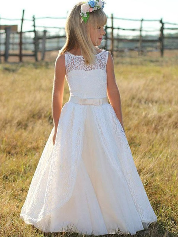 A-Line/Princess Scoop Long Lace Flower Girl Dress