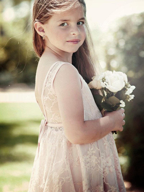 A-Line/Princess Scoop Short Lace Flower Girl Dress