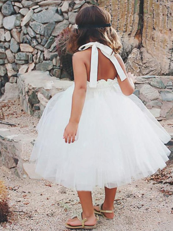 A-Line/Princess Halter Tea-Length Tulle Flower Girl Dress