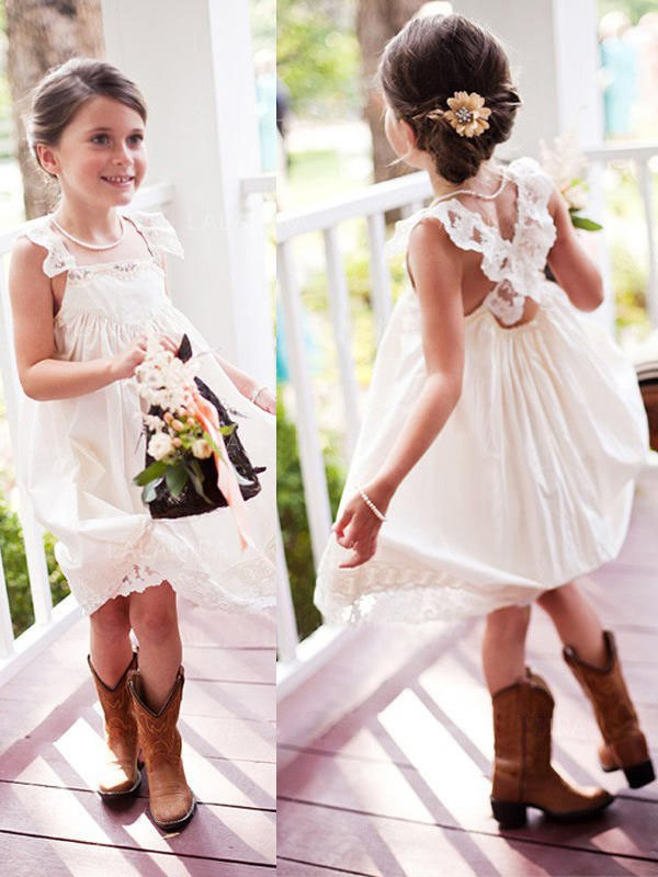 A-Line/Princess Square Short Chiffon Flower Girl Dress