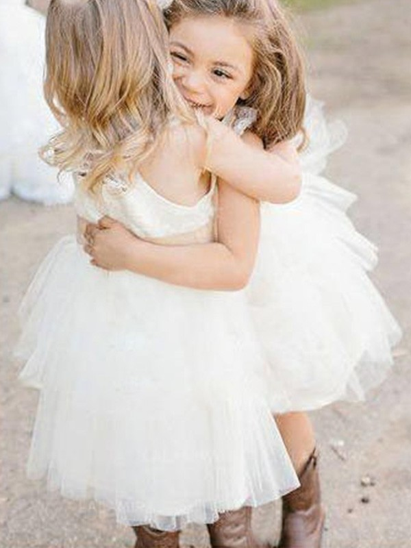 A-Line/Princess Square Short Tulle Flower Girl Dress