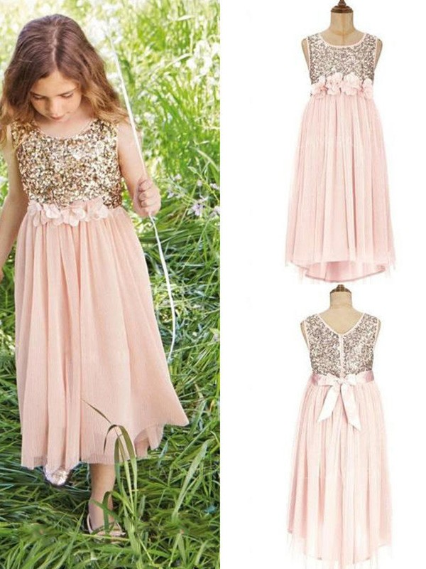 A-Line/Princess Scoop Tea-Length Sequins Chiffon Flower Girl Dress