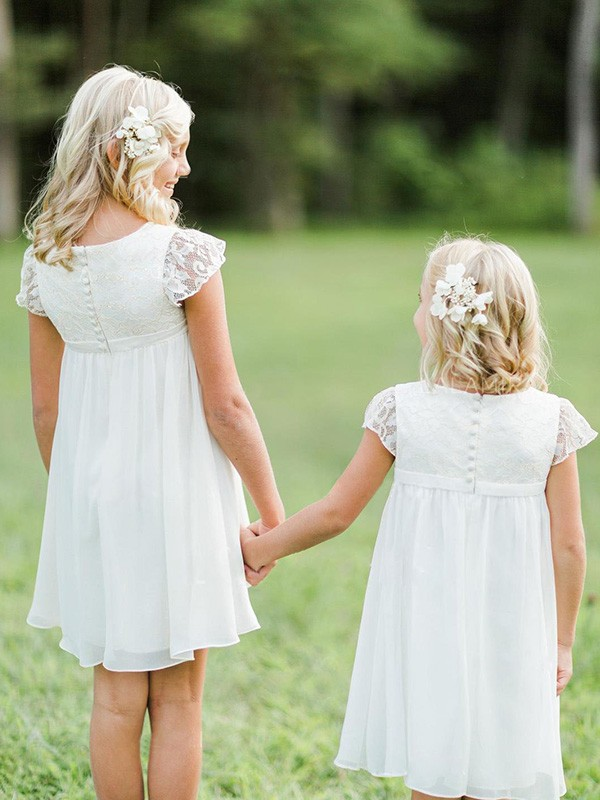 A-Line/Princess Short Sleeves Scoop Short Chiffon Flower Girl Dress