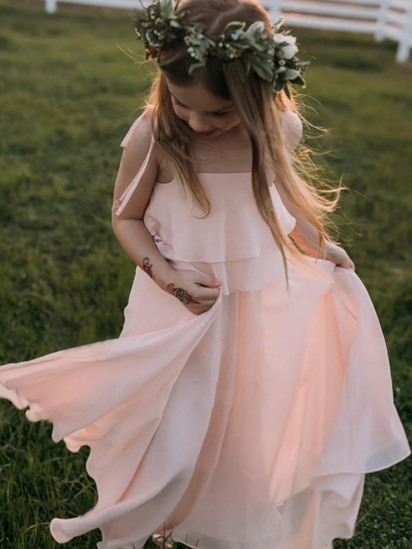 Empire Spaghetti Straps Long Chiffon Flower Girl Dress