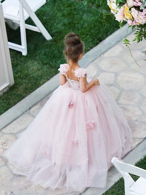 Ball Gown Spaghetti Straps Long Tulle Flower Girl Dress