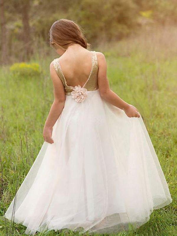 A-Line/Princess Scoop Long Tulle Flower Girl Dress