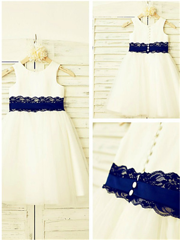 A-Line/Princess Scoop Lace Tea-Length Tulle Flower Girl Dress
