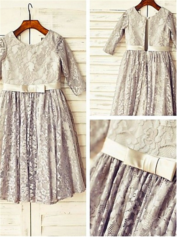 A-Line/Princess Scoop 3/4 Sleeves Tea-length Lace Flower Girl Dress