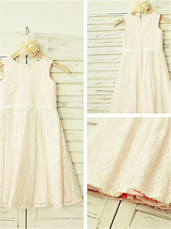 A-Line/Princess Jewel Tea-length Lace Flower Girl Dress