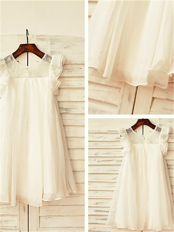 A-Line/Princess Scoop Short Sleeves Lace Tea-Length Chiffon Flower Girl Dress