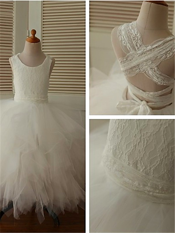 Ball Gown Scoop Lace Long Organza Flower Girl Dress