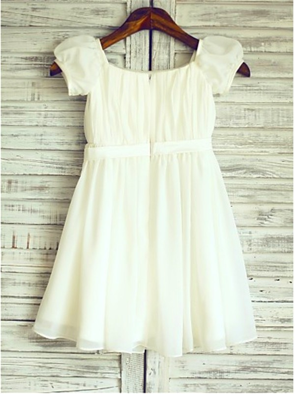 A-Line/Princess Square Short Sleeves Tea-Length Chiffon Flower Girl Dress