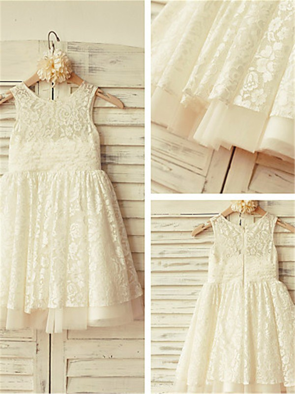 A-Line/Princess Scoop Tea-Length Lace Flower Girl Dress