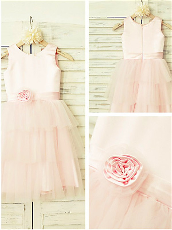 A-Line/Princess Scoop Tea-length Tulle Flower Girl Dress