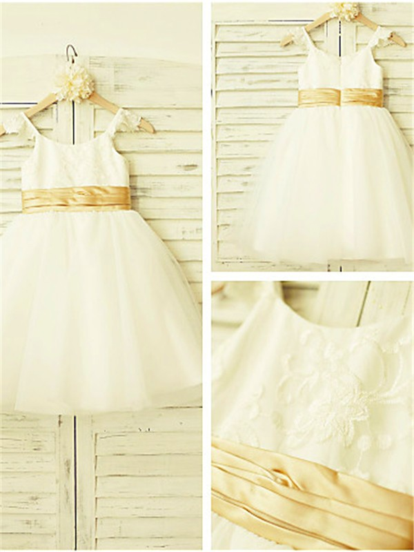 A-Line/Princess Spaghetti Straps Lace Tea-Length Tulle Flower Girl Dress