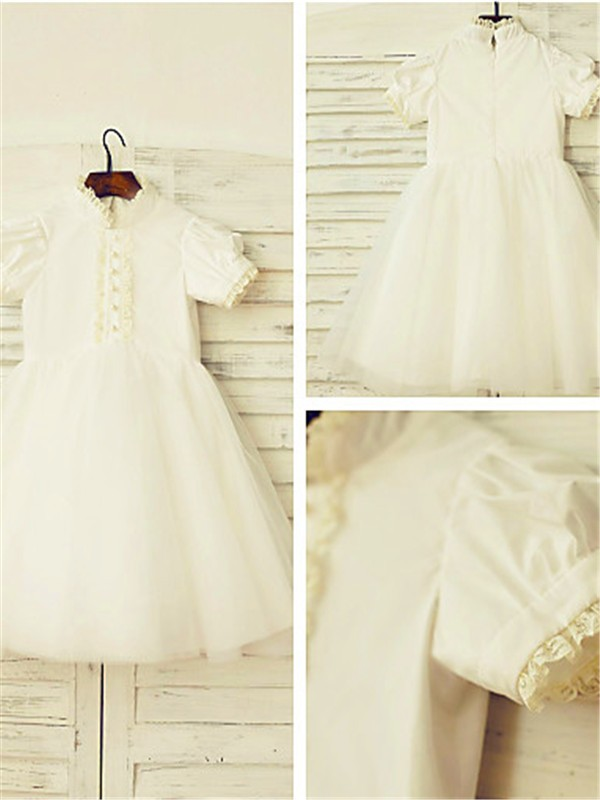 A-Line/Princess High Neck Short Sleeves Lace Tea-Length Tulle Flower Girl Dress