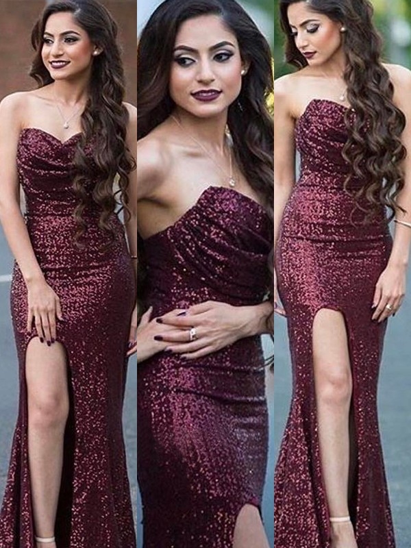 Mermaid Sweetheart Long Sequins Dress