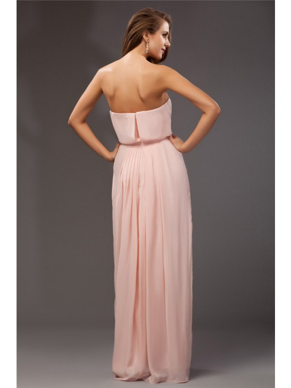 Sheath/Column Strapless Long Chiffon Dress