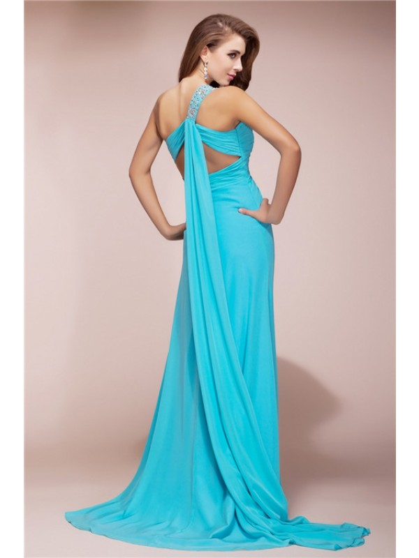 Sheath/Column One Shoulder Slit Long Chiffon Dress