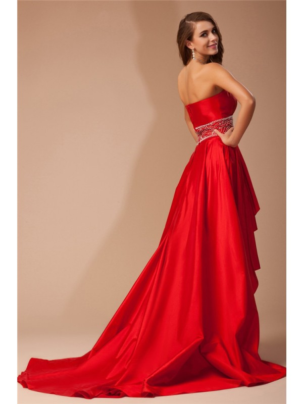 A-Line/Princess Strapless Asymmetrical Taffeta Dress
