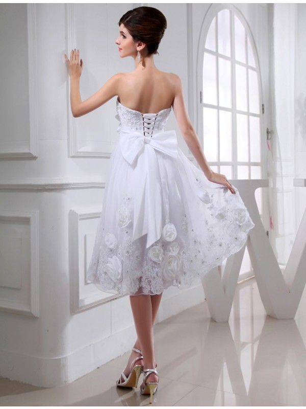 A-Line/Princess Short Organza Taffeta Wedding Dress