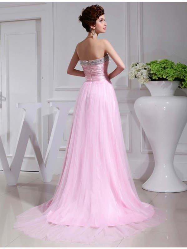 A-Line/Princess Elastic Woven Satin Tulle Dress